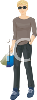 Royalty Free Clipart Image of a Teenager Carrying Shopping Bags