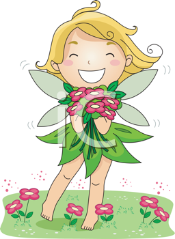 Royalty Free Clipart Image of a Spring Fairy Holding a Bouquet