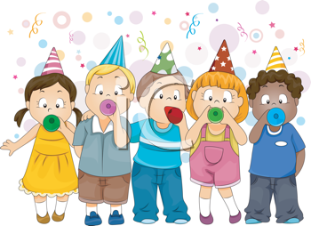 Royalty Free Clipart Image of Children Celebrating
