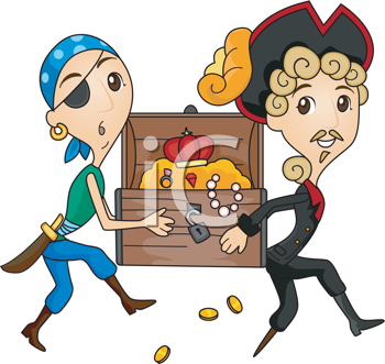 Royalty Free Clipart Image of Pirates Carrying Treasure