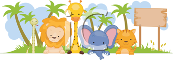 Royalty Free Clipart Image of a Group of Wild Animals Beside a Board