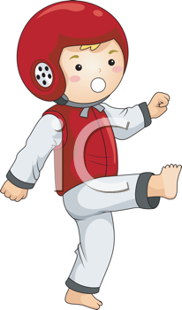 Royalty Free Clipart Image of a Child Doing Tae Kwon Do