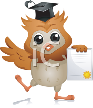 Royalty Free Clipart Image of an Owl Holding a Diploma