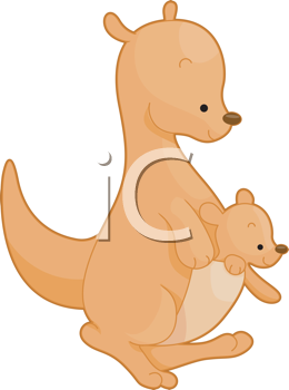 Royalty Free Clipart Image of a Kangaroo and Baby