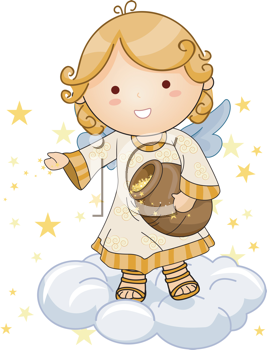 Royalty Free Clipart Image of an Angel Throwing Stars