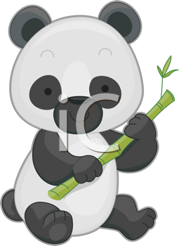 Royalty Free Clipart Image of a Panda Holding Bamboo