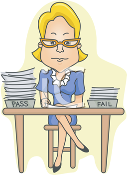 Royalty Free Clipart Image of a Teacher Marking Papers