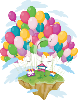 Royalty Free Clipart Image of a Floating Island With Balloons