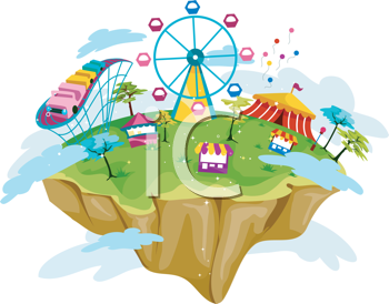Royalty Free Clipart Image of a Theme Park on a Floating Island