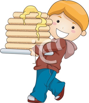 Royalty Free Clipart Image of a Boy With a Stack of Pancakes