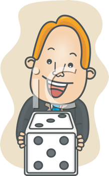 Royalty Free Clipart Image of a Man With a Die
