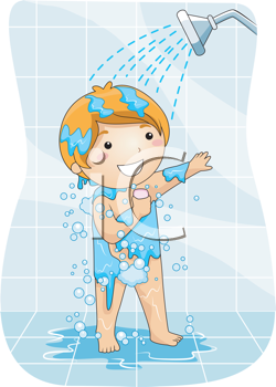 Royalty Free Clipart Image of a Boy Taking a Shower
