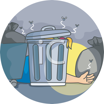 Royalty Free Clipart Image of a Hand Showing From Behind a Garbage Can