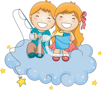 Royalty Free Clipart Image of a Young Boy and Girl Fishing For Stars From a Cloud