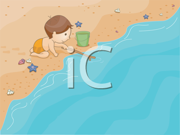Royalty Free Clipart Image of a Child at the Beach