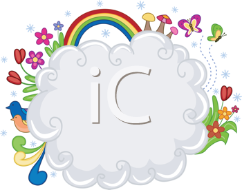Royalty Free Clipart Image of a Cloud With Flowers a Rainbow and Butterflies Around It