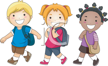 Royalty Free Clipart Image of a Group of Schoolchildren Walking