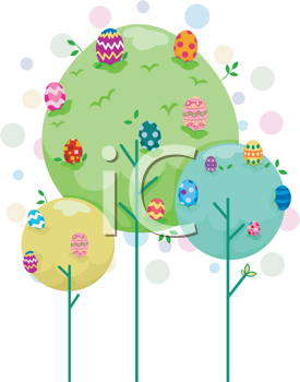 Royalty Free Clipart Image of Easter Eggs in Trees