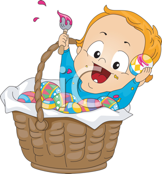 Royalty Free Clipart Image of a Baby in a Basket of Easter Eggs