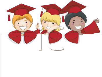 Royalty Free Clipart Image of Three Little Graduates