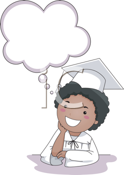Royalty Free Clipart Image of a Graduate Child Thinking