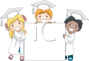 Royalty Free Clipart Image of Little Graduates Holding a Banner