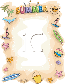 Royalty Free Clipart Image of a Summer Frame