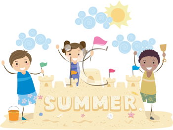 Royalty Free Clipart Image of a Children With a Sandcastle