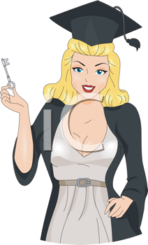 Royalty Free Clipart Image of a Pin-Up Graduate