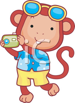 Royalty Free Clipart Image of a Monkey Holding a Camera