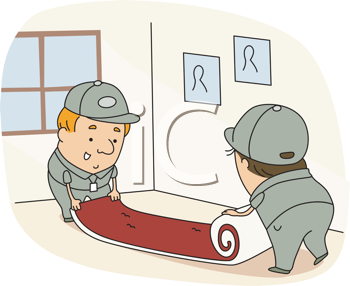 Royalty Free Clipart Image of Carpet Installers