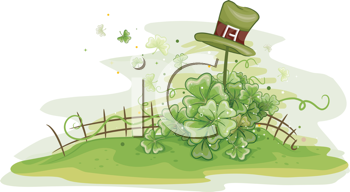 Royalty Free Clipart Image of an Irish Hat on a Fence