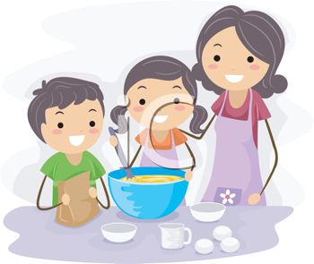 Royalty Free Clipart Image of a Family Baking