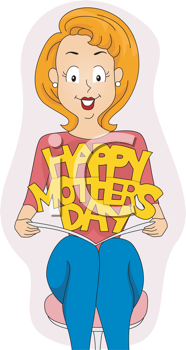 Royalty Free Clipart Image of a Woman Holding a Mother's Day Card