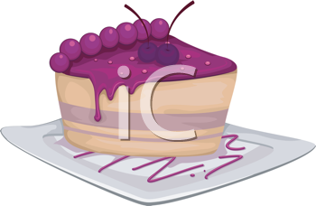 Royalty Free Clipart Image of a Slice of Blueberry Cake