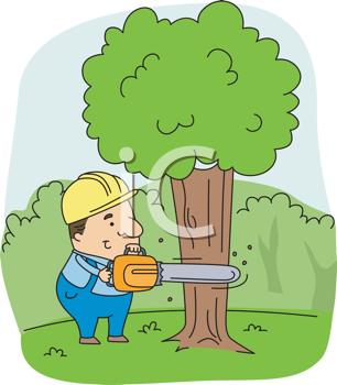 Royalty Free Clipart Image of a Man Cutting Down a Tree