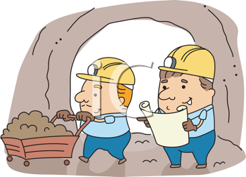 Royalty Free Clipart Image of Two Miners