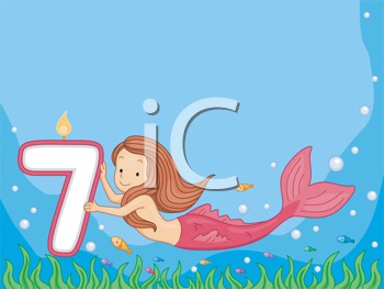 Royalty Free Clipart Image of a Mermaid Holding a Birthday Candle for a Seven Year Old