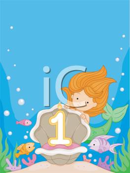 Royalty Free Clipart Image of a Mermaid Looking at the Number One in an Oyster Shell