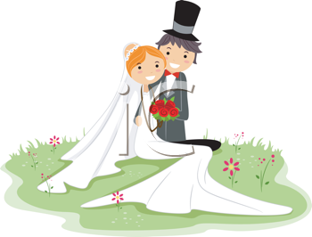 Royalty Free Clipart Image of a Bride and Groom Sitting on Grass
