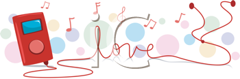 Royalty Free Clipart Image of a Music Player With the Cord Spelling Love