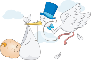 Royalty Free Clipart Image of a Stork Delivering a Baby