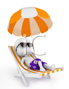 3D Illustration of a Man Relaxing on a Beach Chair