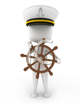 3D Illustration of a Ship Captain
