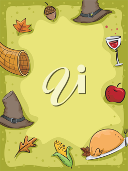 Background Illustration Featuring Thanksgiving Related Items