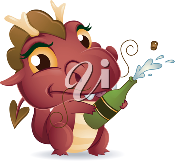 Illustration of a Dragon Popping a Champagne Bottle Open