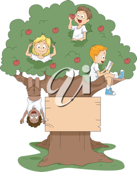 Illustration of Kids Playing in a Tree