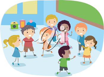 Illustration of Kids Playing in the Classroom