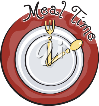 Icon Illustration Featuring Tableware Resembling a Clock
