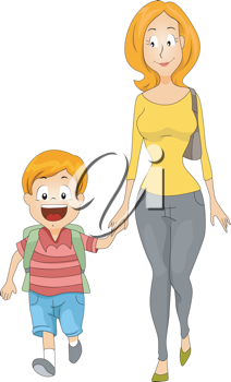Illustration of a Mother Accompanying Her Kid to School
